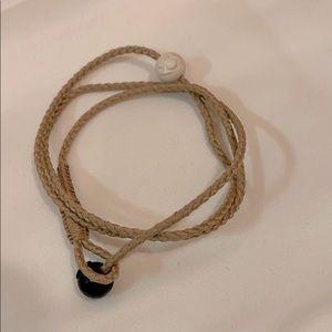 Lokai taupe triple wrap corded bracelet - M